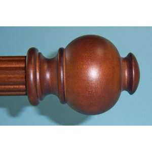 Button Wood Finial in Coffee finish for a 1 3/8 dowel rod