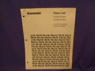 KAWASAKI FA76D PARTS LIST 4 CYCLE GAS ENGINE
