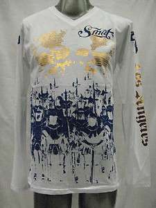 NWT SMET BY CHRISTIAN AUDIGIER MENS V NECK L/S T SHIRT BATTLE FOR