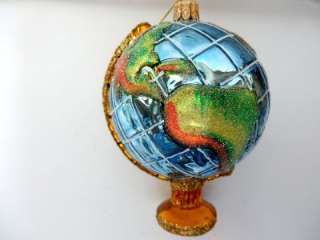 WORLD PLANET EARTH GLOBE EUROPEAN BLOWN GLASS CHRISTMAS TREE ORNAMENT