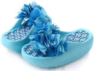 Lady Girl Beach Sandals Flower Slippers Flip Flop Heel Platform Shoes