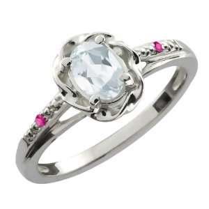 Ct Oval Sky Blue Aquamarine Pink Sapphire 18K White Gold Ring Jewelry