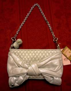 NEW JUICY COUTURE Spring Shimmer Silver Large Bow Purse Clutch