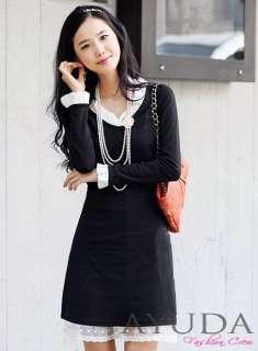 Elegant Black Cotton Chiffon Ruffle Lace Hem Long Sleeve Women Plus