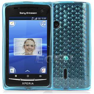 SKY BLUE DIAMOND TPU SILICONE GEL SKIN CASE COVER FOR SONY ERICSSON
