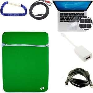 Green Laptop Carrying Case Reversible Sleeve, Keyboard Silicone Skin