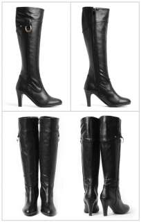Womens Shoes Gold Point Black 3.1 Knee High Heels Long Boots /02901