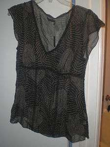 LIMITED BLACK WHITE POLKA DOT SHEER SILK LACE TOP SHIRT MEDIUM