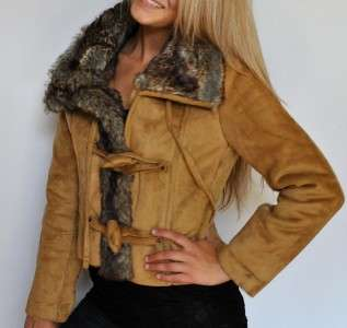 New Womens Steve Madden Faux Shearling Jacket Suede Coat Faux Fur