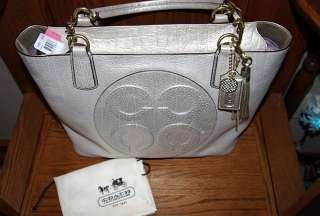 COACH Colette OP ART Off White Leather Gold Metallic Wash 16485 Lg