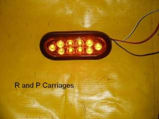TWO 6 Oval Multi Function LED Amber TurnLight With Plug& Grommet