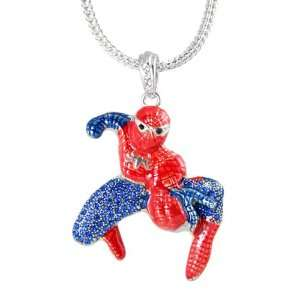 Spiderman Silver Tone Red & Blue Crystals Charm Pendant 23