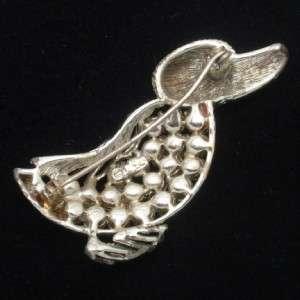 Coro Vintage Duck Brooch Pin with Aurora Borealis Rhinestones Bird