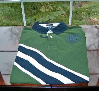 Hilfiger Mens SS 100% Pique Cotton Green/Navy Polo Shirt Custom Fit
