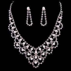 Bridal Wedding Jewelry Set Necklace Crystal Rhinestone V Drape Pearl