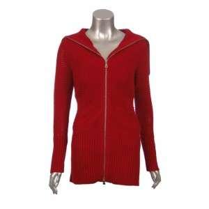 Sutton Studio Womens Red Double Zip Long Jacket PS
