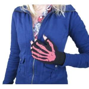 Pink Skeleton Bones Fingerless Gloves: Toys & Games