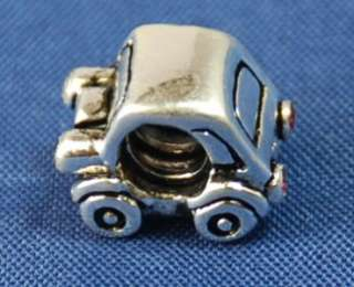 Silver European Bead CHARM CRUISE W PALM TREE / CAR W CZ LIGHTS