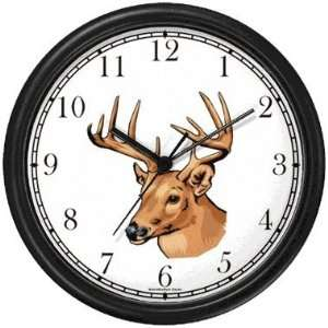 Deer Buck Head   Animal Wall Clock by WatchBuddy Timepieces (White