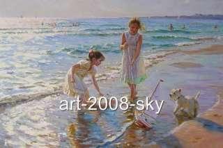 Original Oil painting small girl and dog artSand Babyon canvas 24