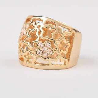 6626 Fashion Jewelry 18K Gold Czech Rhinestone Plated Flower Face