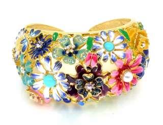 Kenneth Jay Lane Gold & Enamel Multi Garden Party Wide Bracelet