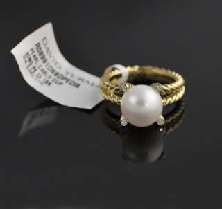 David Yurman 18k Yellow Gold Cable Pearl Wrap Pave Ring