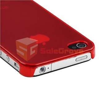 Clear Red Slim Hard Case+PRIVACY FILTER for Sprint Verizon AT&T iPhone