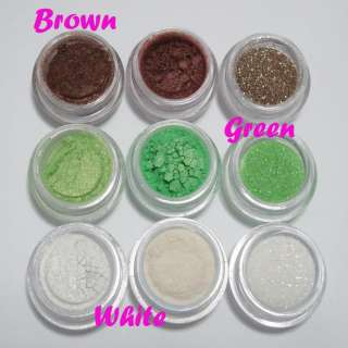 9pc Brown+Green+White Cosmetic Eyeshadow Pigment Glitter