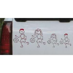 4in X 11.9in Red    Basketball Stick Family Stick Family