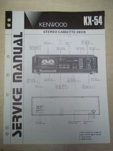 Vtg Kenwood Service/Repair Manual~KX 54 Cassette Deck~Original
