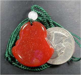 CHINESE Red JADE PENDANT Buddha God Amulet 899907