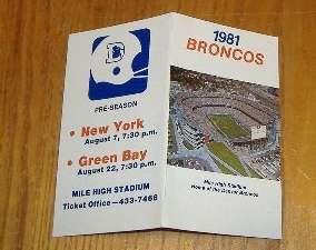 denver broncos pocket schedule 1981 NFL