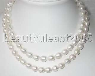fine lovely 7 8mm white natural pearl necklace 35
