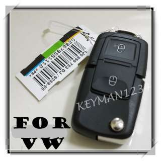 BUTTON REMOTE FLIP KEY FOB CASE w/ BLADE for VW AUDI GOLF PASSAT