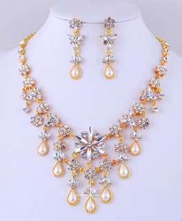 Rhinestone Imitate Pearl Golden Necklace Dangle Earrings 1Set