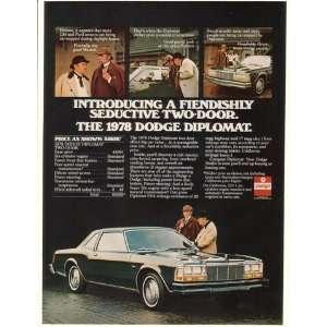 1978 Dodge Diplomat 2 Door Holmes & Watson Print Ad (18171