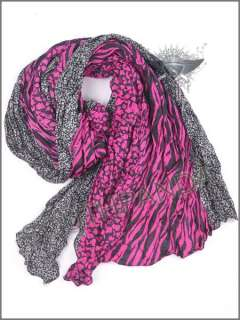 WS Black White Gray Stripe Design Long Thin Shawl Scarf Wrap Lively
