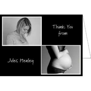 Double Double Black Baby Shower Thank You Cards   Set of