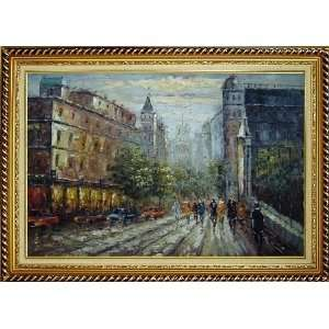 Evening Street Scene Oil Painting, with Linen Liner Gold Wood Frame 30