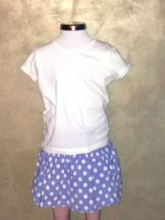 BODEN 2 pc. set white tee and blue polka dot skirt w/ shorts sz 5/6