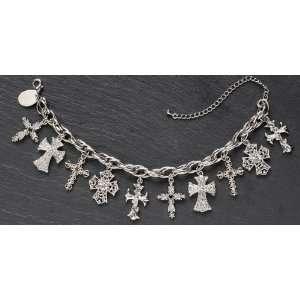 of 4 Silver Plated Crystal Cross Dangle Bracelets 7.5