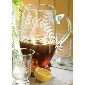 America Retold Blown Glass Pitcher with Etched Fern Design