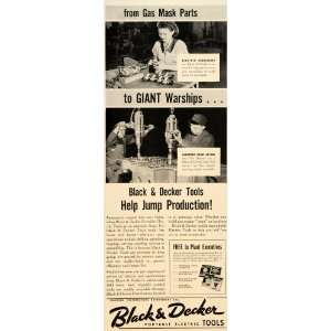 1942 Ad Black Decker Tools Warship Gas Mask Electric