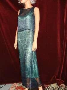 FLAPPER HEAVILY BEADED BLUE DROP WAIST FULL LENGTH FORMAL DRESS~S