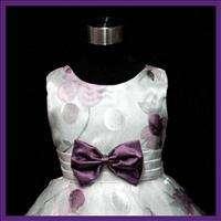 Purple Wedding Birthday Party Flower Girls Dress SZ 7 8