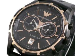 Armani men sport watch black rose gold USA seller NEW w tag EA box
