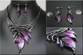FASHION STYLE SILVER PLATED CRYSTAL NECKLACE EARRING SET