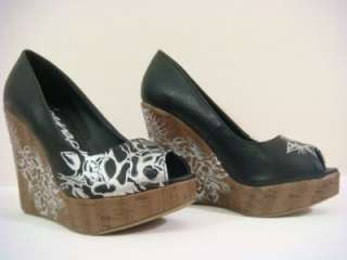 Ed Hardy women roses black heels wedges celestial shoes