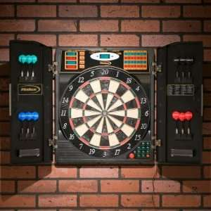 Steel/Soft Tip Electronic Dart Board with Cabinet